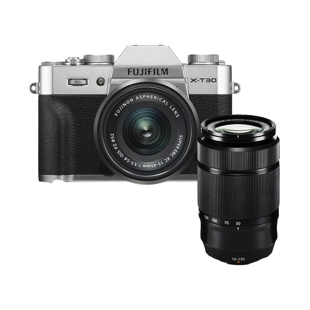 Fujifilm X-T30 Kit mit 15-45 mm + 50-230 mm II Silber