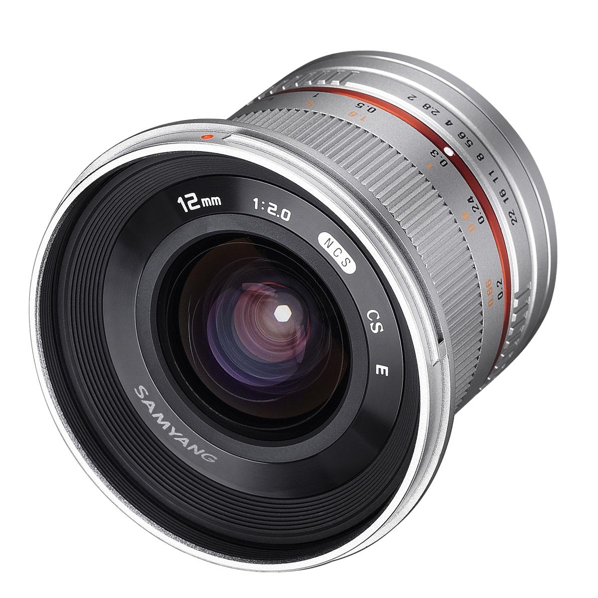 Samyang MF 12 mm 1:2,0 NCS CS für Fujifilm XF Silber