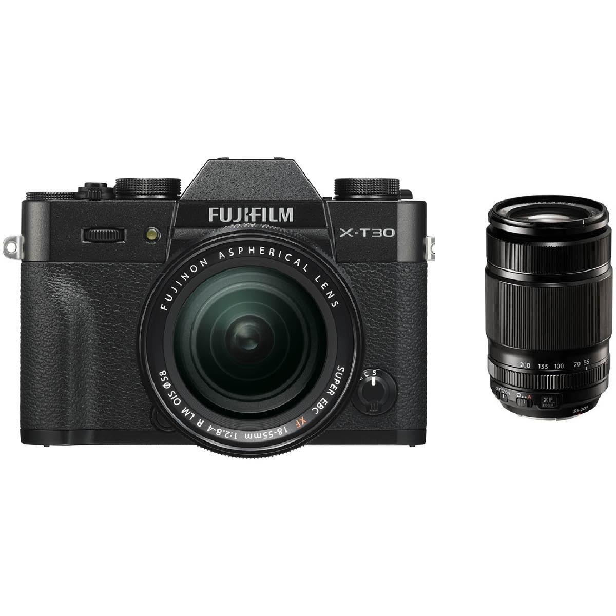 Fujifilm X-T30 Kit mit 18-55 mm 1:2,8-4 + 55-200 mm Schwarz