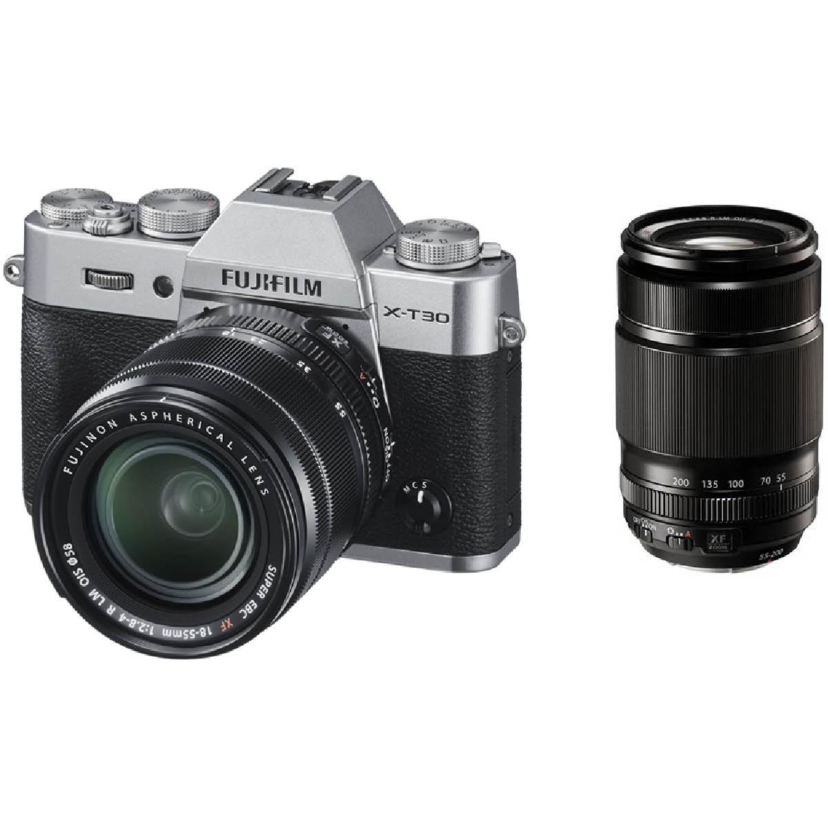 Fujifilm X-T30 Kit mit 18-55 mm 1:2,8-4 + 55-200 mm Silber