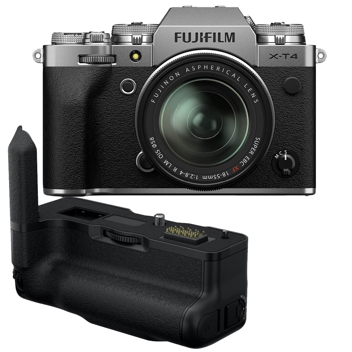 Fujifilm X-T4 Kit mit 18-55 mm 1:2,8-4 + VG-XT4 Handgriff  silber