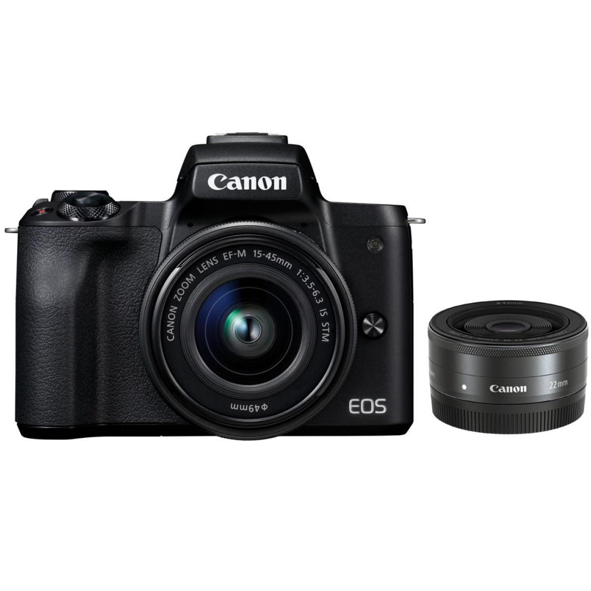 Canon EOS M50 Kit mit 15-45 mm 1:3,5-6,3 + 22 mm 1:2,0 Schwarz