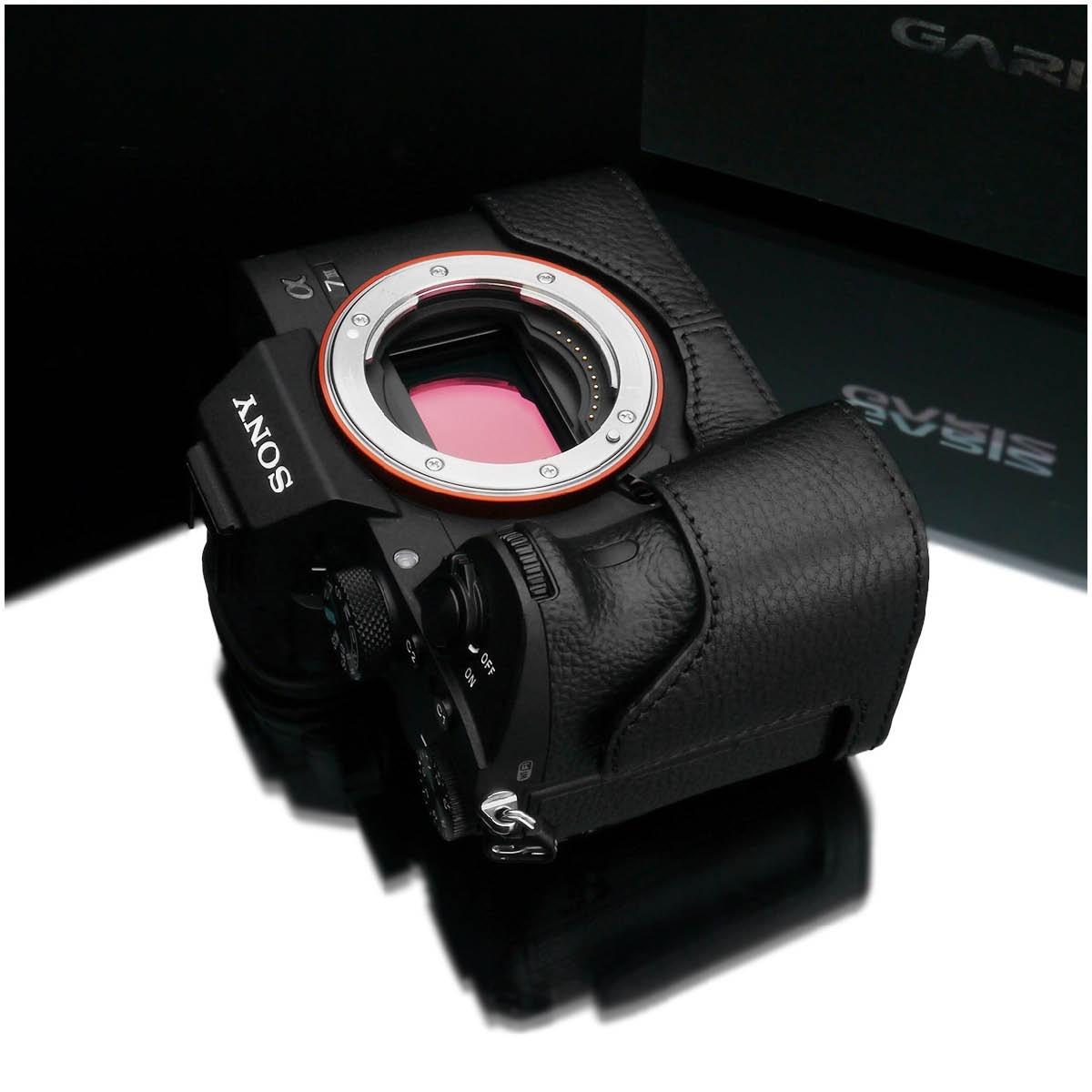 Gariz Leder Halbtasche für Sony Alpha7 III Schwarz