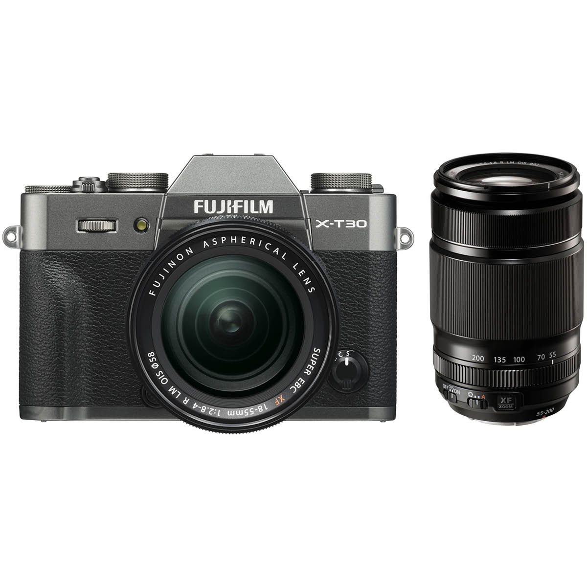 Fujifilm X T30 Kit mit 18-55 mm 1:2,8-4 + 55-200 mm Anthrazit