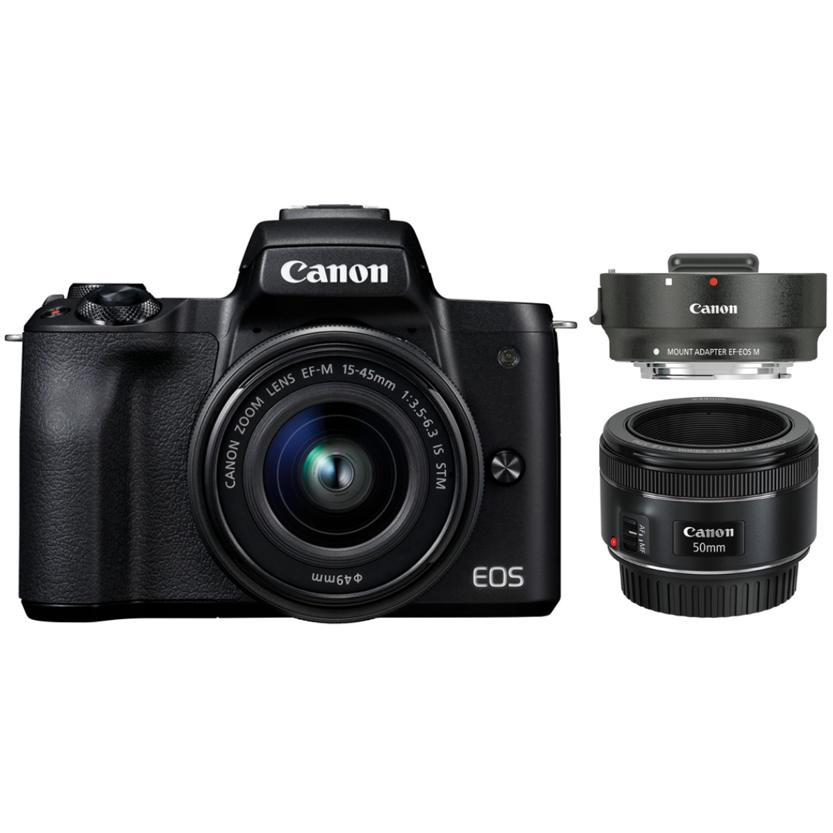 Canon EOS M50 Kit mit 15-45 + 50 mm 1:1,8 + EF-M Adapter