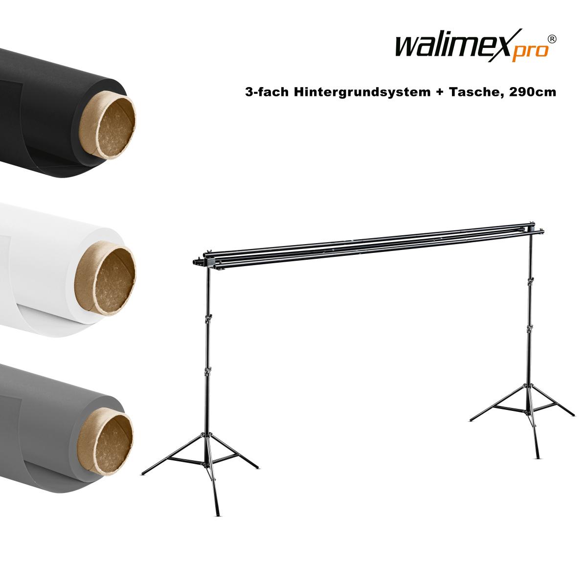 Walimex pro 3-fach Hintergrundsystem+Tasche, 290 cm